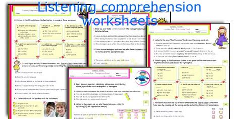 Listening Comprehension Worksheets by Teaching Worksheets Listening Comprehension