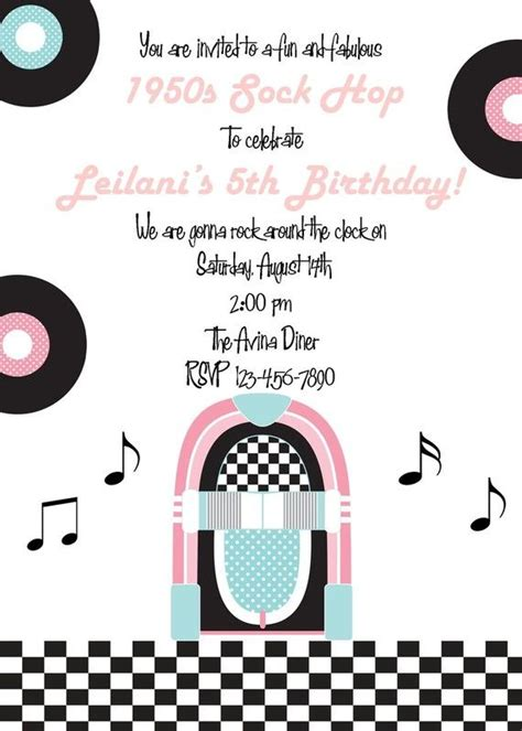Invitation 1950 S Sock Hop Collection By Printable Parties Ingredients Series Pinterest Grease Invitation Template