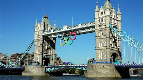 london 2012 olympic games bunting along the river thames olympic rings footage stock clips