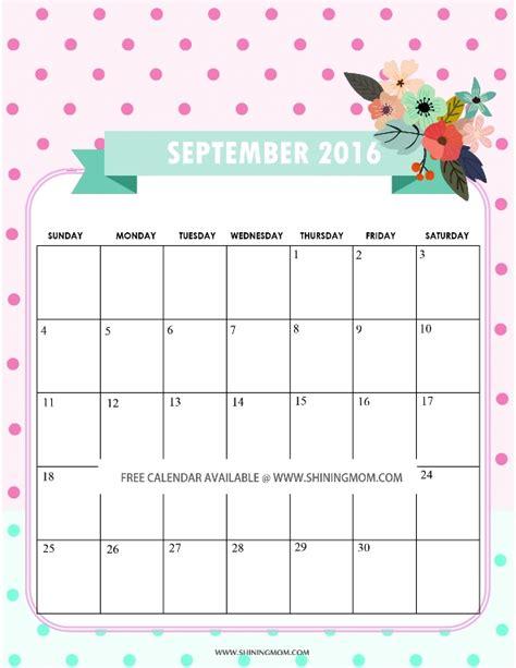 Calendar 2016 September All Lovely Free September 2016 Calendars