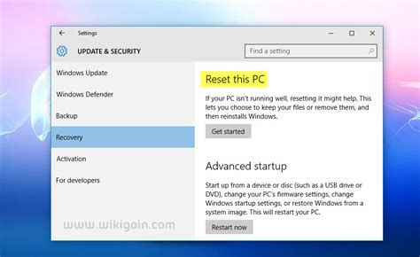 reset pc online reset windows 10 pc without losing personal files wikigain