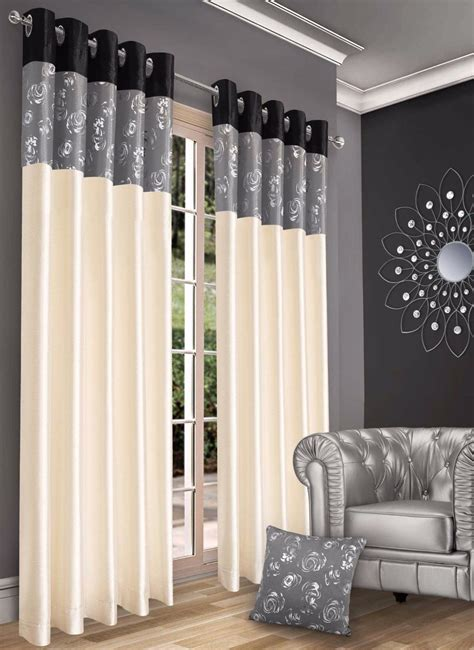 metallic grey curtains stylish contemporary faux silk ringtop eyelet lined