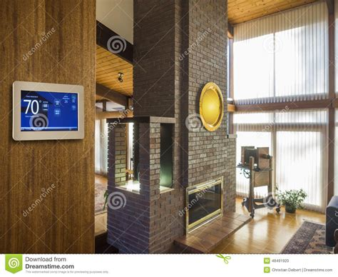 living room temperature programmable electronic thermostat stock photo image 48491920