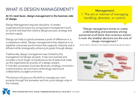 Design Management Lecture | vdis10015 design management skills lecture 4