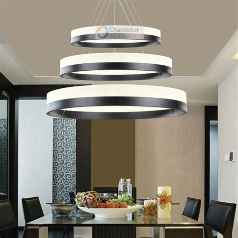 White Metal Chandelier Three Sizes Modern Contemporary One Ring Pendant Light