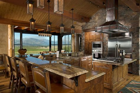 Houzz Kitchen Islands With Seating by Rocky Mountain Log Homes Timber Frames Rustic Kitchen