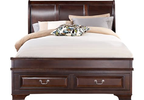 w bed mill valley ii cherry 3 pc queen sleigh bed w storage beds dark wood
