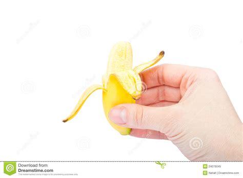 tiny banana the hand holding small banana royalty free stock photo