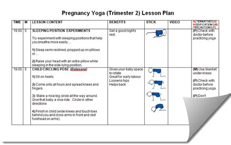 lesson plan template yoga pregnancy yoga lesson plans