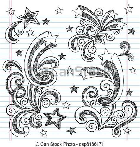 how to draw doodle swirls vector clipart af doodle jagt stjerner starbursts