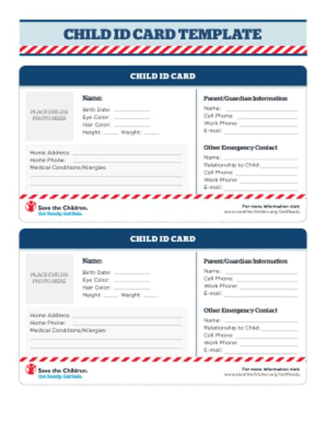 6 Printable Emergency Contact Card Template Forms Fillable Sles In Pdf Word To Download Child Id Card Template Free