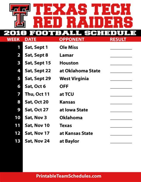 Tech Football Schedule 2018 Printable