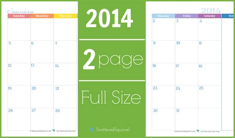 2 page monthly calendar template 2014 6 best images of 2 month per page size calendar