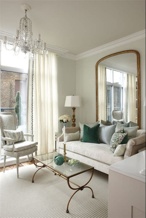 sarah richardson drapes brass and glass coffee table transitional living room