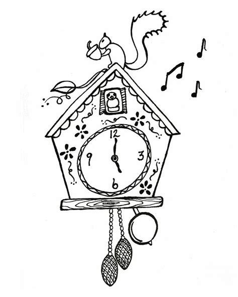 printable cuckoo clock template cuckoo clock coloring page graphics pinterest