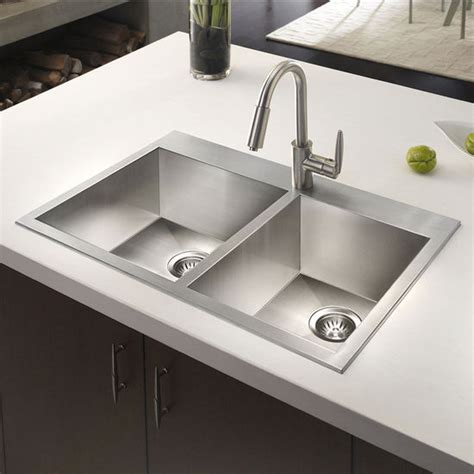 double sink kitchen houzer bellus zero radius topmount 60 40 double bowl