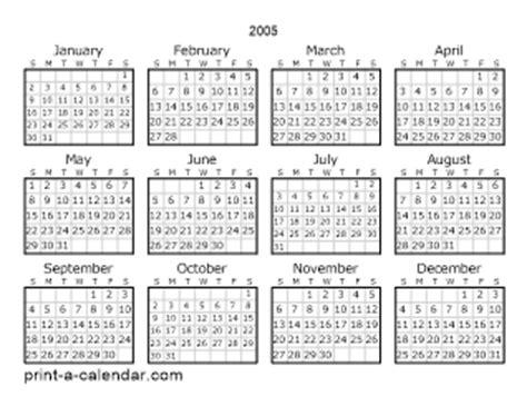 Calendar For 2005 2005 Printable Calendars
