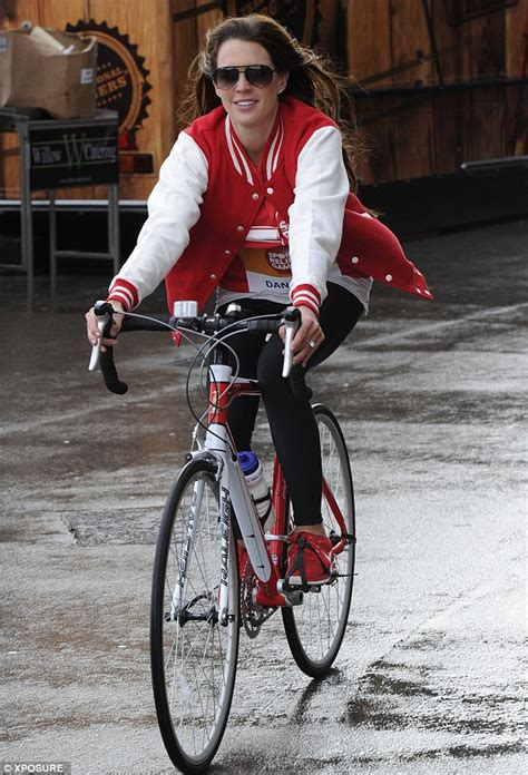An American Wag The Danielle Lloyd Bikes It For Sport Relief Looking More Like An American Baseball Than A Wag