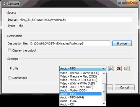 format audio file convert video to mp3 or extract audio from video using vlc