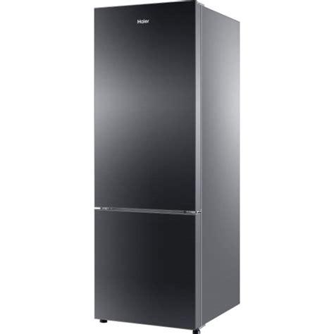 Haier Hrb 3654pkg R 345 L Double Door Refrigerator Black Black Glass Door Refrigerator