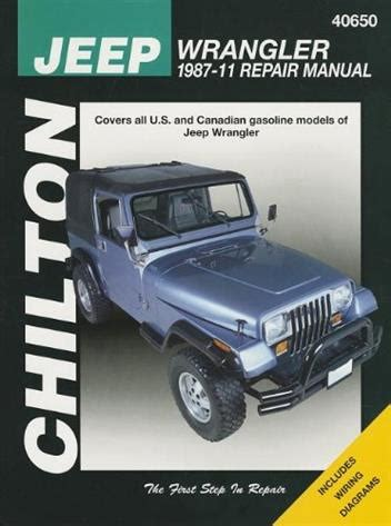 Jeep Wrangler 2011 Owners Manual Jeep Wrangler And Yj 1987 2011 Chilton Owners Service