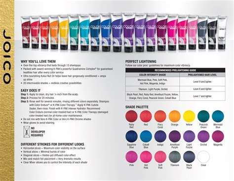 joico color chart joico vero k pak color intensity fact sheet color
