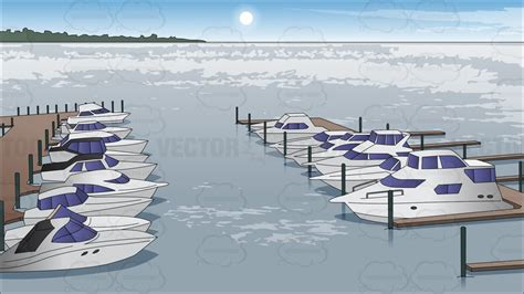boat cartoon marine boats docked at a marina background cartoon clipart