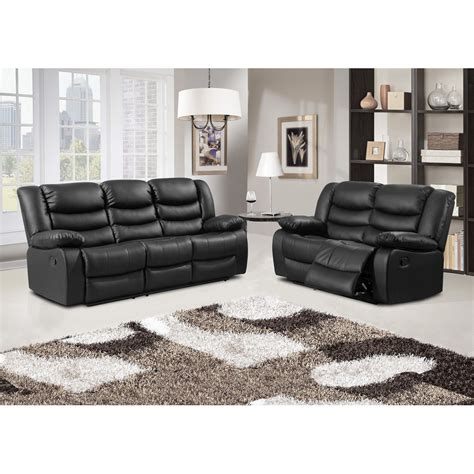 Black Recliner Sofa by Belfast Black Recliner Sofa Collection In Bonded Leather