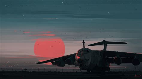 aenami airplane digital art sunset sky birds