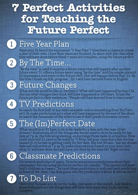 pattern future perfect 7 perfect activities to teach the future perfect poster