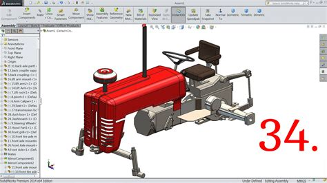 solidworks tutorial lesson 2 assemblies solidworks tutorial tractor 34 assembly 2 youtube