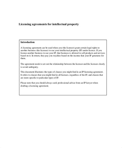 intellectual property agreement template sle property contract agreement 8 exles in word pdf