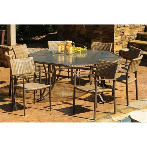 Patio Dining Set Shop Tortuga Outdoor Maracay 9 Gray Wood Frame Wicker Patio Dining Set At Lowes