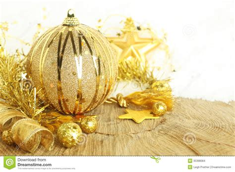 golden christmas ornaments stock images image 35398084