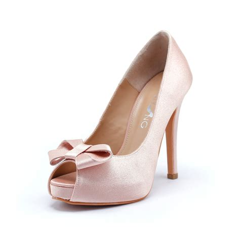 Blush Bridesmaid Shoes by Sweetheart Wedding Shoes In Blush Silk Satin