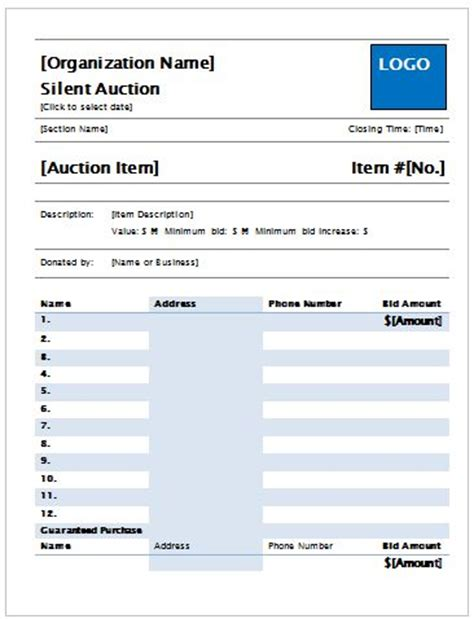 custom quote for stock silent auction bid sheet 8 5 x 11