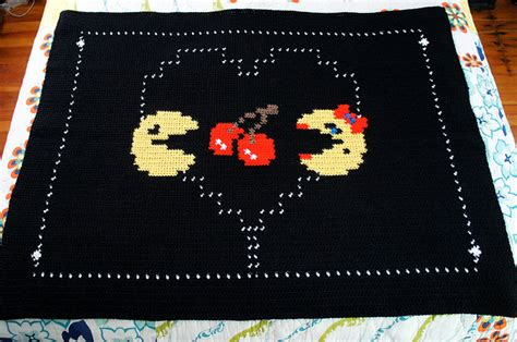 Galaga Rug by Crocheted Retro Throw Blankets