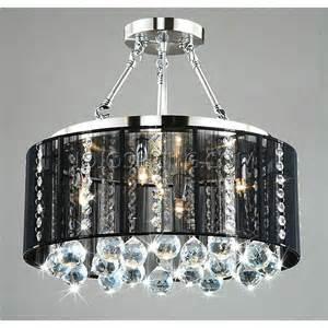 Black Acrylic Chandelier Crystal 5 Light Black Shade Chrome Semi Ceiling Lamp