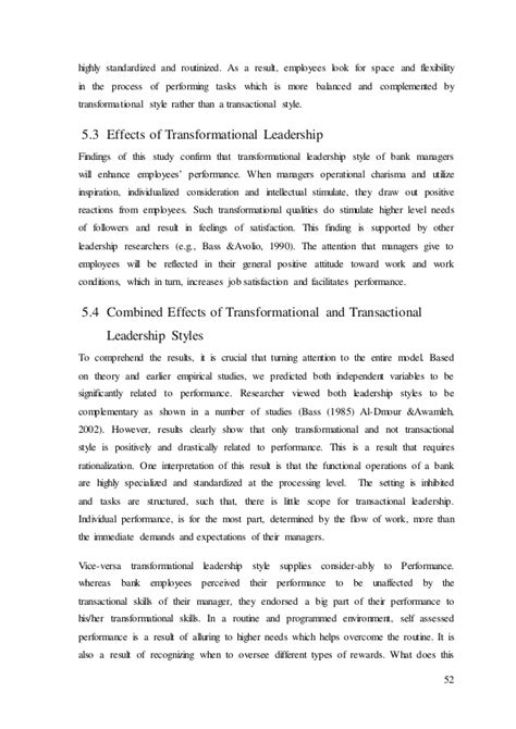 transformational leadership research paper essay on transformational leadership style