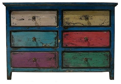 multi colored drawer dresser blue multi color 6 drawers side table drawers eclectic