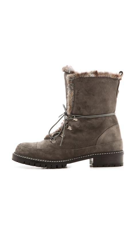fog boots stuart weitzman bobsled faux fur suede hiking boots fog