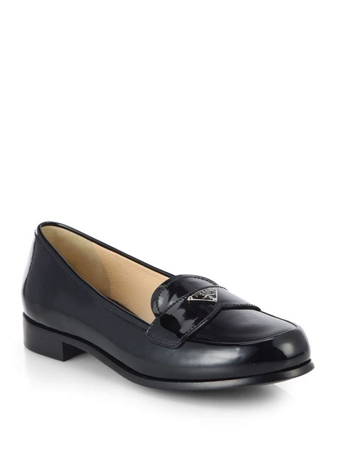 loafers patent prada patent leather loafers in black lyst