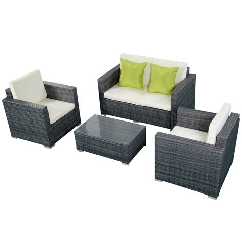 durable patio furniture durable 4pc patio furniture set cushioned outdoor wicker