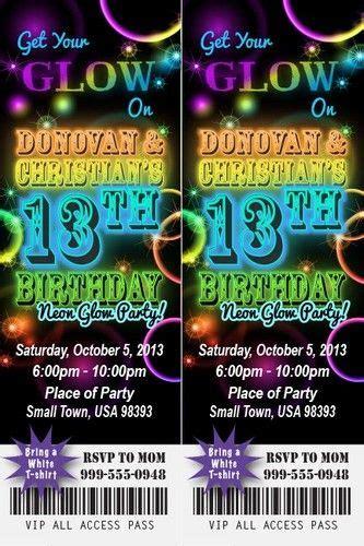 neon glow birthday party invitation ticket stub