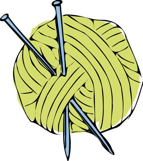 clipart yarn green yarn ball with blue needles clip art at clker