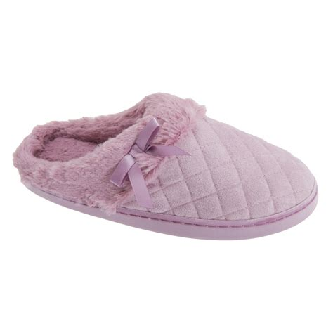 quilted slippers womens quilted open back mule slippers with faux