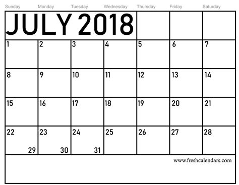 Free Calendar Printable Template by July 2018 Calendar Printable Template With Holidays Pdf Usa Uk