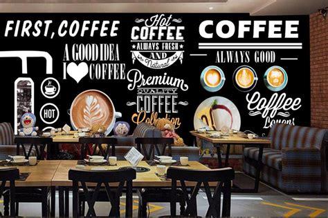 lukisan dinding cafe hitam putih  wallpaper