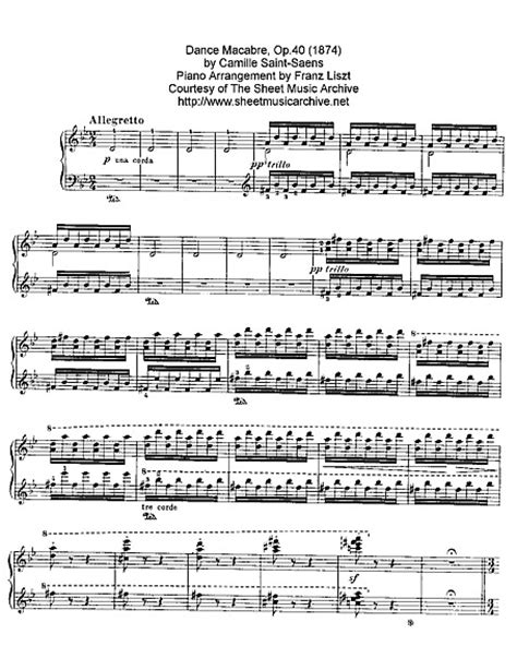 macabre music danse macabre piano sheet music cantorion free sheet