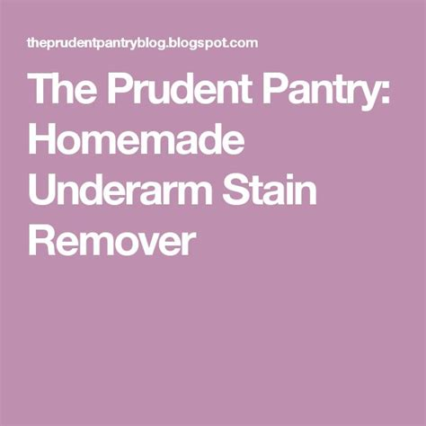 The Prudent Pantry by 25 Best Ideas About Underarm Stain Removers On